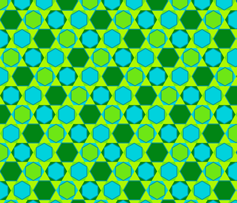 Hexagons (Cool Colours) fabric by nekineko on Spoonflower - custom fabric