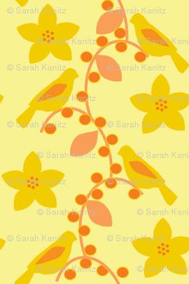 Birds and berries in yellow