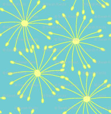 Flower bursts in blue