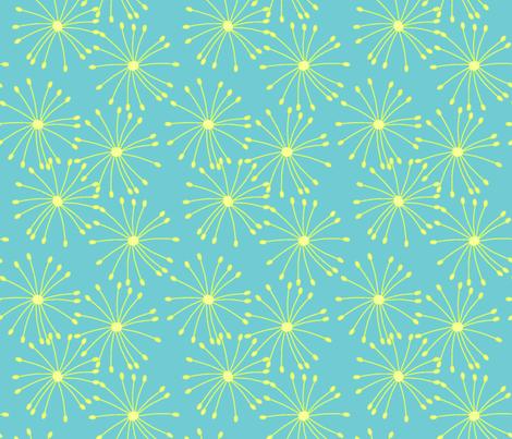 Flower bursts in blue fabric by slkanitz on Spoonflower - custom fabric
