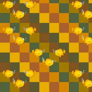 Fish on earth colored checkers