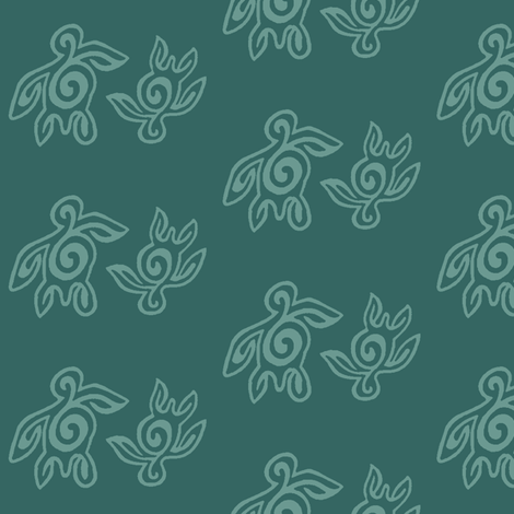 SpiritoftheSea_turtles_BLUEGREEN-175 fabric by mina on Spoonflower - custom fabric