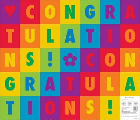 Congratulations Bunting fabric by lizarti on Spoonflower - custom fabric