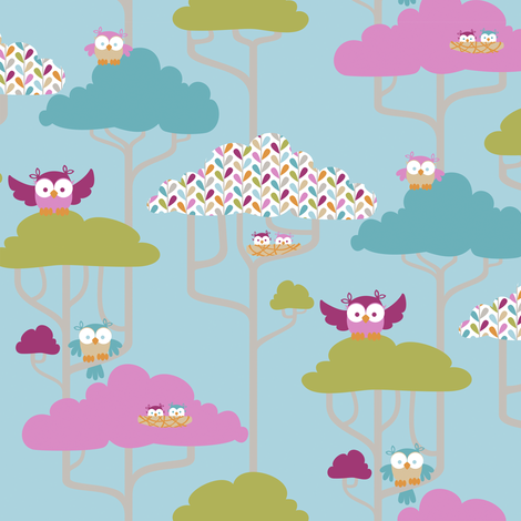 If By Air - Tree Tops, Owl - PANTONE fabric by ttoz on Spoonflower - custom fabric