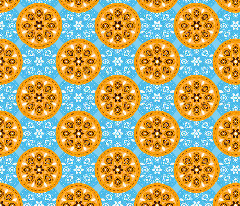 Sky Blue Orange fabric by zoebrench on Spoonflower - custom fabric