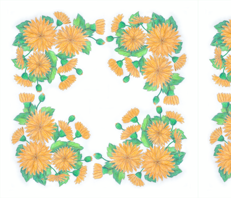 Sun flowers napkin: 18 inches, done in crayons fabric by victorialasher on Spoonflower - custom fabric