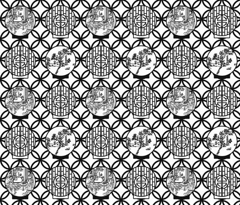 Scenes through a moon gate, black by Su_G fabric by su_g on Spoonflower - custom fabric