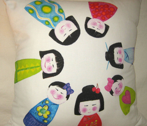 crayon kokeshi doll napkin
