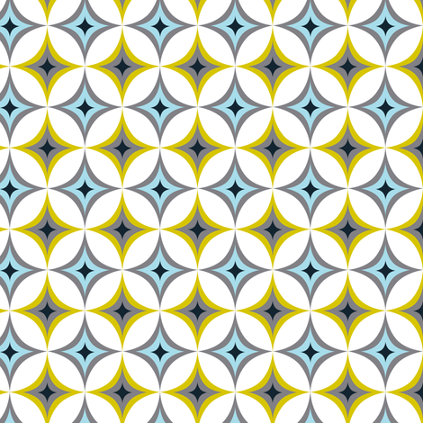 Astral - Midcentury Modern Geometric Blue fabric by heatherdutton on Spoonflower - custom fabric
