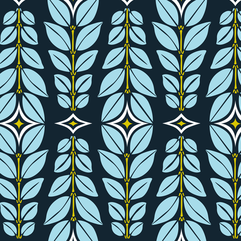 Cortlan - Retro Leaf Geometric Blue fabric by heatherdutton on Spoonflower - custom fabric