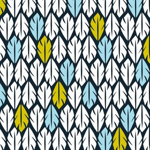 Foliar - Tropical Leaf Geometric Black Blue & Green