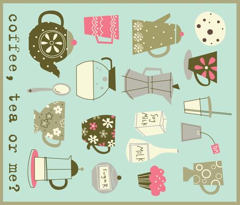 coffee, tea or me dish towel fabric by amel24 on Spoonflower - custom fabric