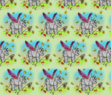 Winged Rhinoceros Unicorn Luring Butterflies with Peanut Butter - Take 2 fabric by glimmericks on Spoonflower - custom fabric