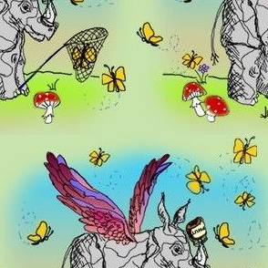Winged Rhinoceros Unicorn Luring Butterflies with Peanut Butter - Take 2