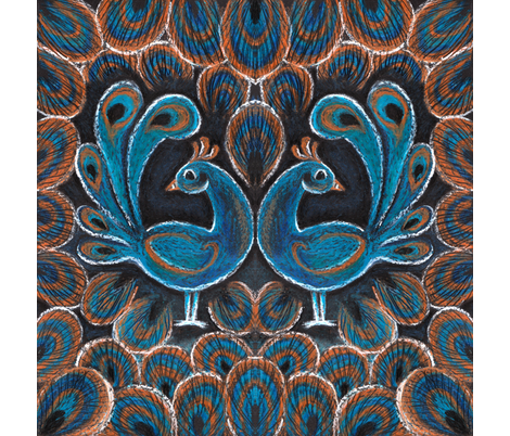 peacock pair crayon napkin fabric by cjldesigns on Spoonflower - custom fabric