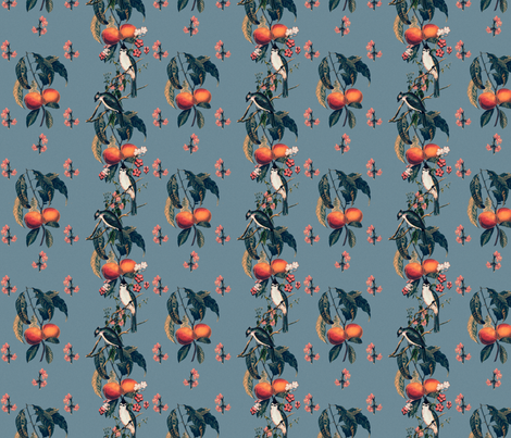 Peaches and Chickadees fabric by maxje on Spoonflower - custom fabric