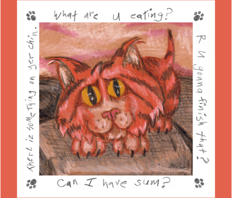 Baby Tiger Wants Your Food - Napkin fabric by lulakiti on Spoonflower - custom fabric