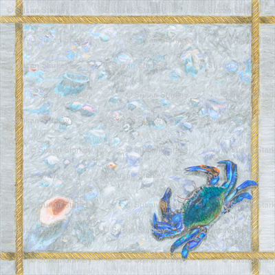 """Blue Crab with Rope Border Sand and Shells Crayon 18"""" Napkin"""