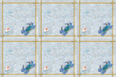 """Blue Crab with Rope Border Sand and Shells Crayon 18"""" Napkin fabric by creative8888 on Spoonflower - custom fabric"""