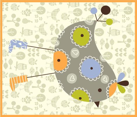 birdie dish towel fabric by amel24 on Spoonflower - custom fabric