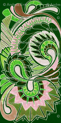 Green Paisley Squirm (charm squares)