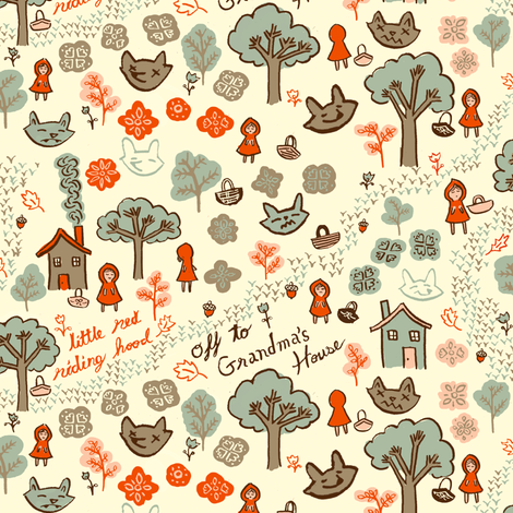 Lil Red Doodle fabric by 1stpancake on Spoonflower - custom fabric