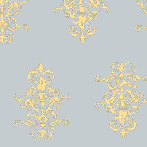 midcentury baroque - grey gold fabric by tractorgirl on Spoonflower - custom fabric