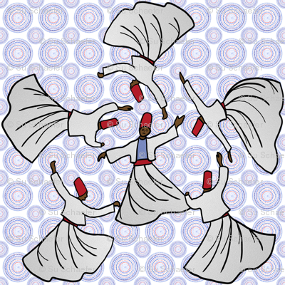 A whirl of dervishes on white