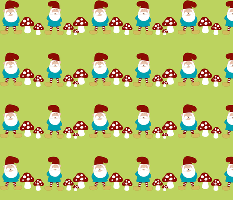 Gnome Patch- Beards an Fungi    fabric by mayabella on Spoonflower - custom fabric