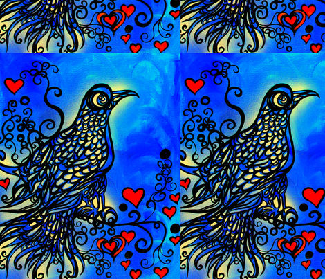 Love bird fabric by heatherpeterman on Spoonflower - custom fabric
