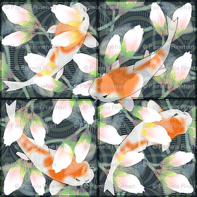 Water Lily Koi Pond Tiles 8x8