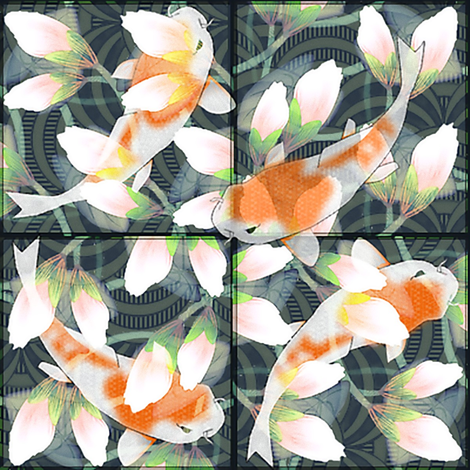 Water Lily Koi Pond Tiles 8x8 fabric by glimmericks on Spoonflower - custom fabric