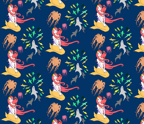 fish of july mermaid fireworks fabric by beesocks on Spoonflower - custom fabric