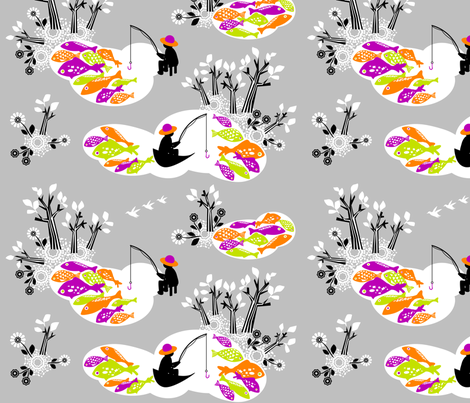 Hiding_from_the_fishermenGrey fabric by niceandfancy on Spoonflower - custom fabric