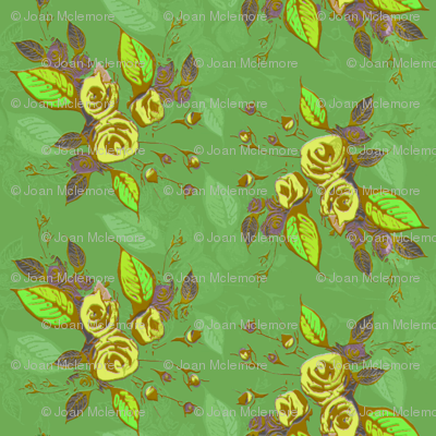 Roses in yellow with green background