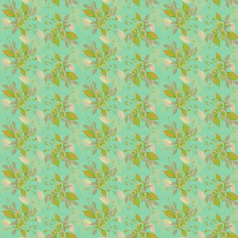 Roses in aqua fabric by joanmclemore on Spoonflower - custom fabric