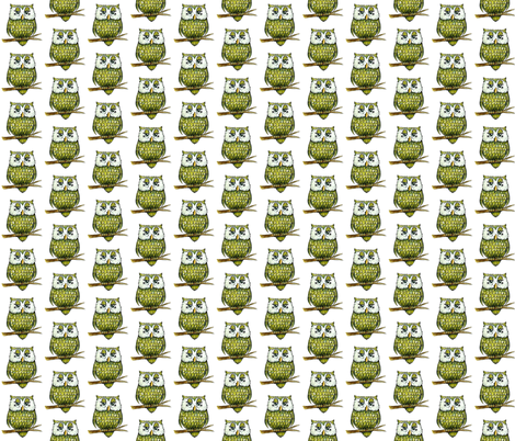 Smaller Green Owl fabric by taraput on Spoonflower - custom fabric