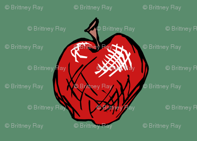 Red Delicious Apple on Chalkboard Green