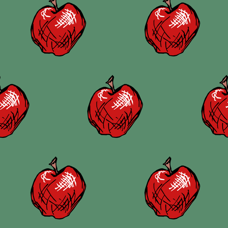 Red Delicious Apple on Chalkboard Green fabric by pond_ripple on Spoonflower - custom fabric