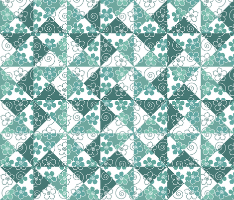 Yankee_Puzzle_Quilt-1b-BLUEGREEN-WHITE fabric by mina on Spoonflower - custom fabric