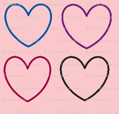 pastel hearts pink