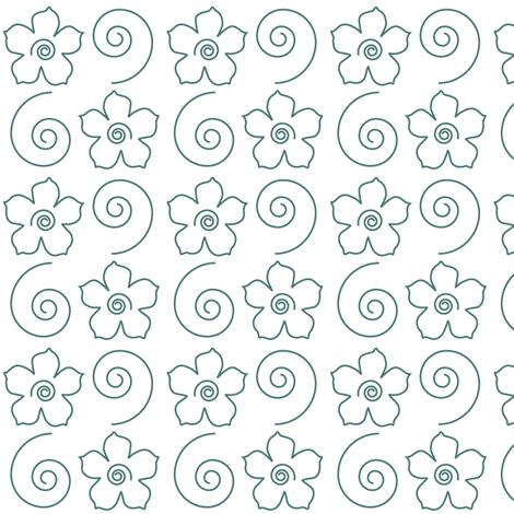 Spiral_Flower_Field_bluegreen-WHITE fabric by mina on Spoonflower - custom fabric