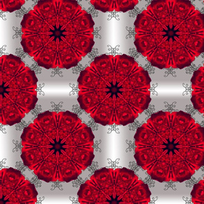 Red Rose Mandala with black vine swirls