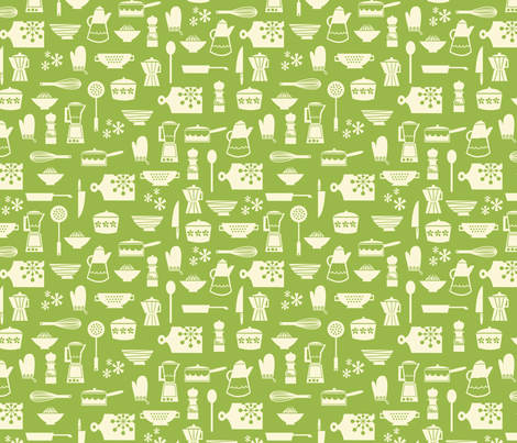 kitchen culture green fabric by amel24 on Spoonflower - custom fabric