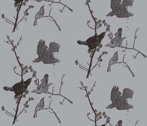 Blackbirds on Grey fabric by retrofiedshop on Spoonflower - custom fabric