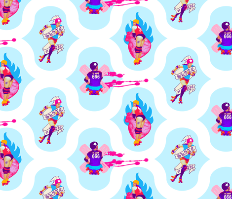 roller derby girls fabric by jenr8 on Spoonflower - custom fabric