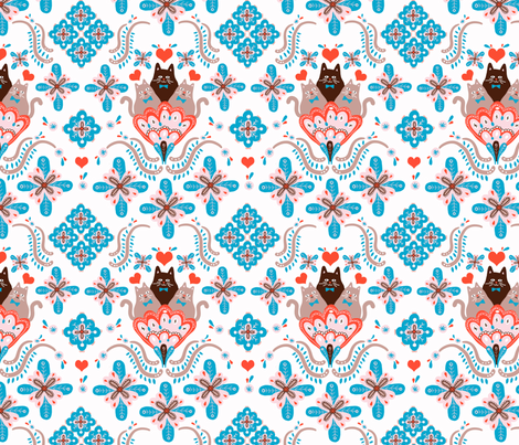 Folksy cats-cyan and red fabric by supayana on Spoonflower - custom fabric