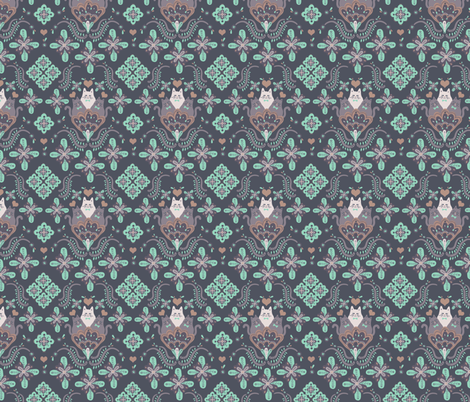 Folksy cats- charcoal fabric by supayana on Spoonflower - custom fabric