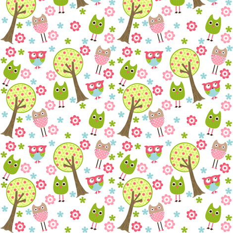 Whimsy Owls Trees fabric by natitys on Spoonflower - custom fabric