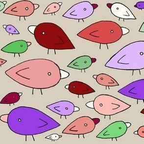 Purple, Pink + Green Birds